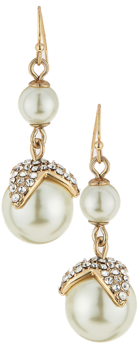 Lulu Frost Petal Cap Simulated Pearl Drop Earrings