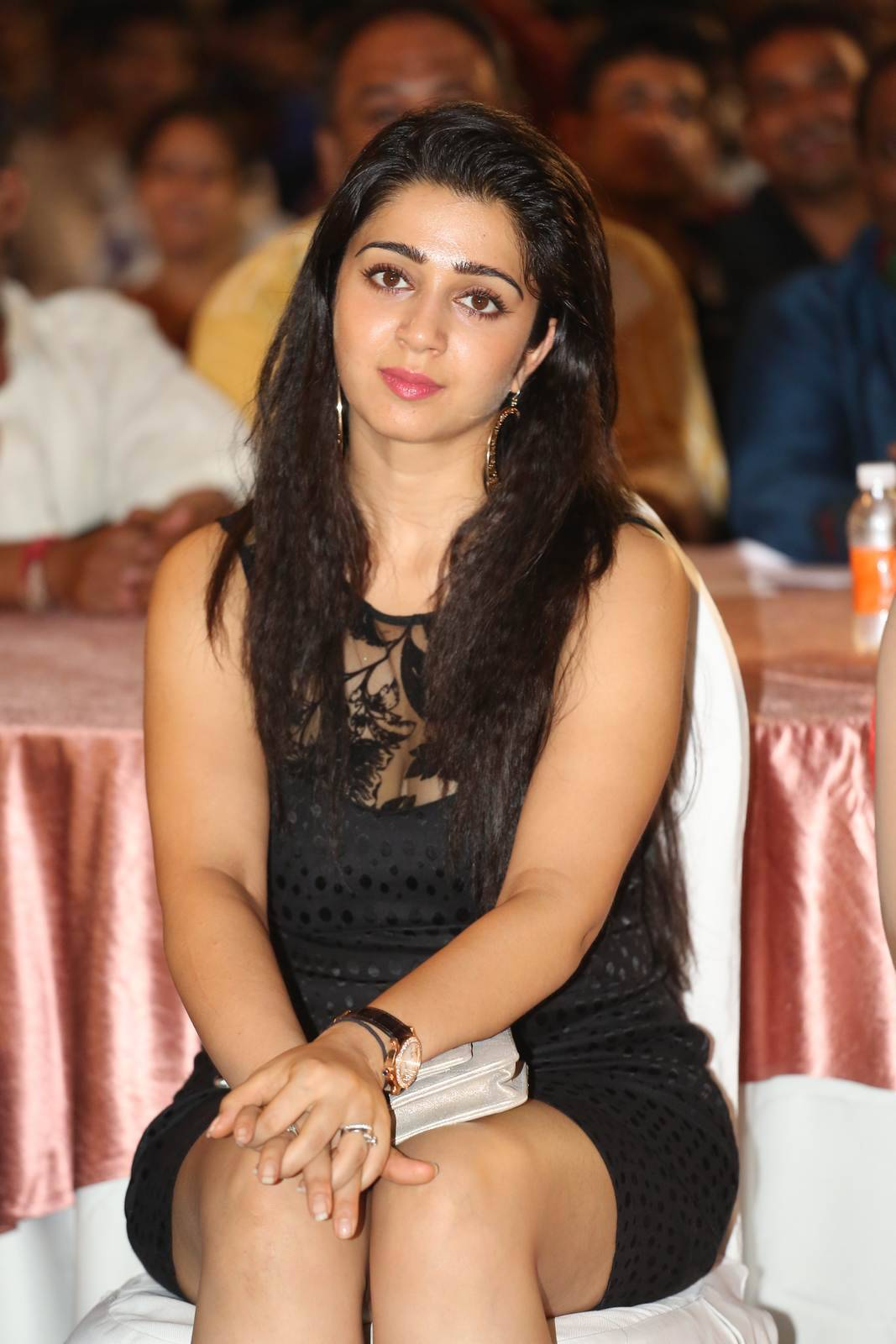 Tollywood Actress Charmi, Charmee Kaur Pics Clicked in Black Dress at Event