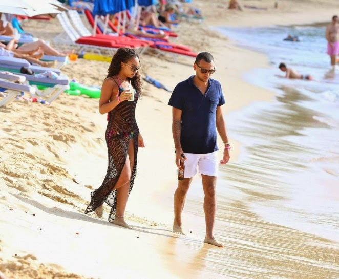 Leigh-Anne Pinnock flaunts curves in a floral bikini in Barbados