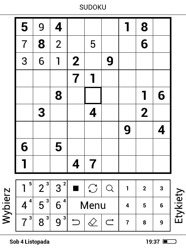 Zrzut ekranu z gry Sudoku na czytniku PocketBook Basic 3