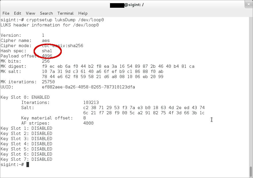 Do NOT use SHA-1: LUKS disk encryption
