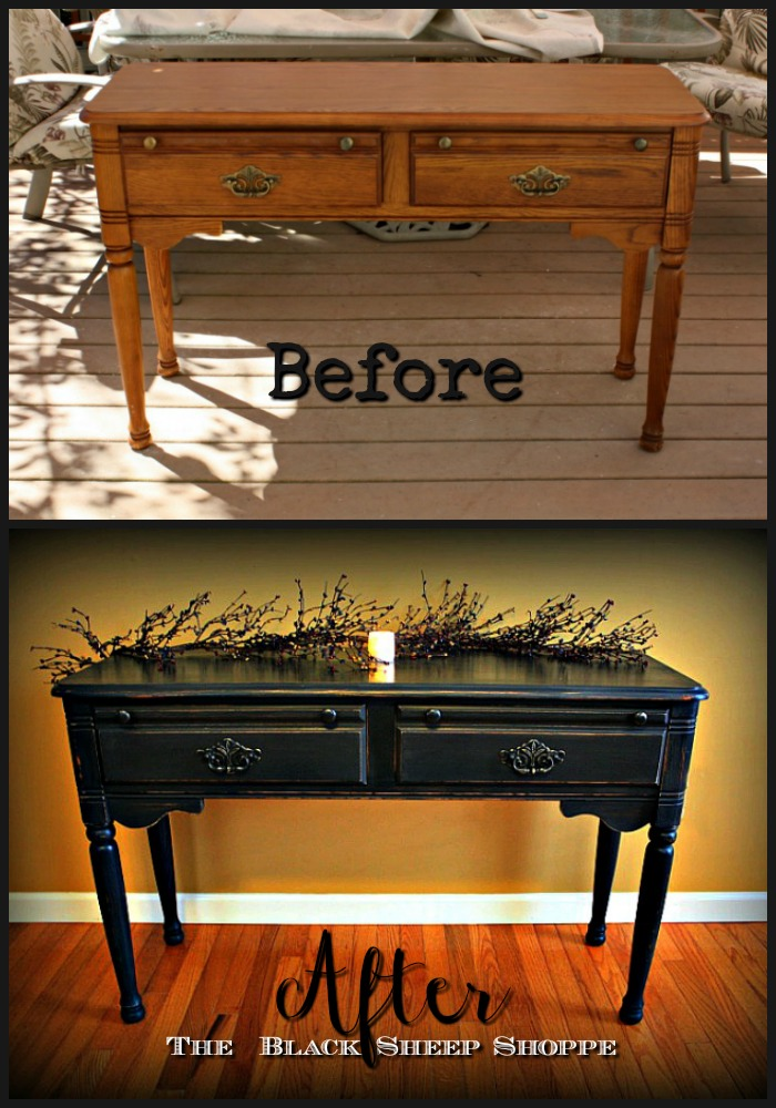Before and after oak table finished with Graphite chalk paint