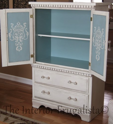Small Vintage Bedroom Armoire Blue Painted Interior