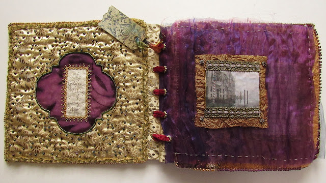 fabric art book with a Renaissance theme, inspired by movie The Merchant of Venice