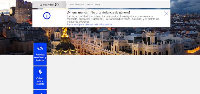 Cabecera de la web del ayuntamiento de Madrid