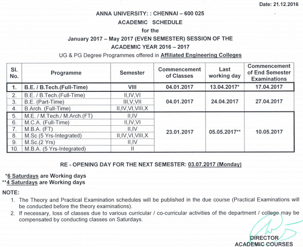 Anna University Jan 2017 May 2017 Academic Schedule