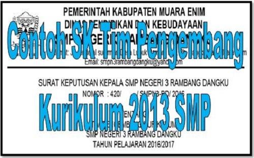 Download Contoh SK Tim Pengembang Kurikulum 2013 SMP