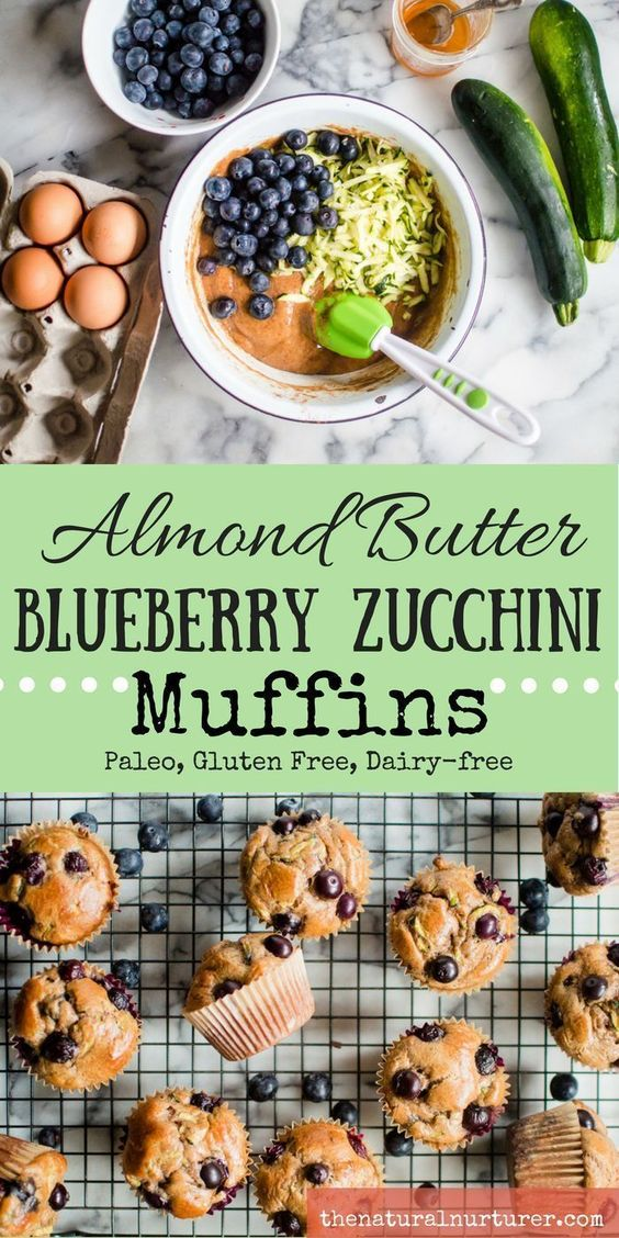 ALMOND BUTTER BLUEBERRY ZUCCHINI MUFFINS