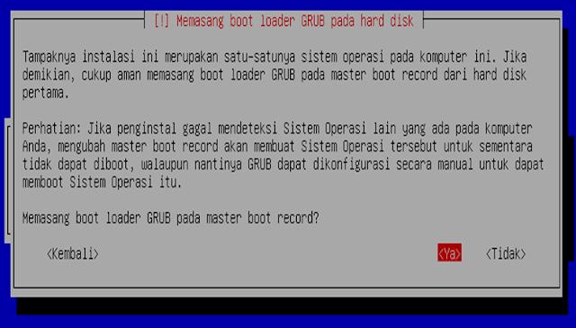 Instalasi Debian - Memasang boot loader GRUB pada hard disk