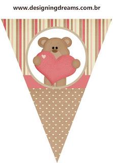 Banderines para Imprimir Gratis de Osito Enamorado.