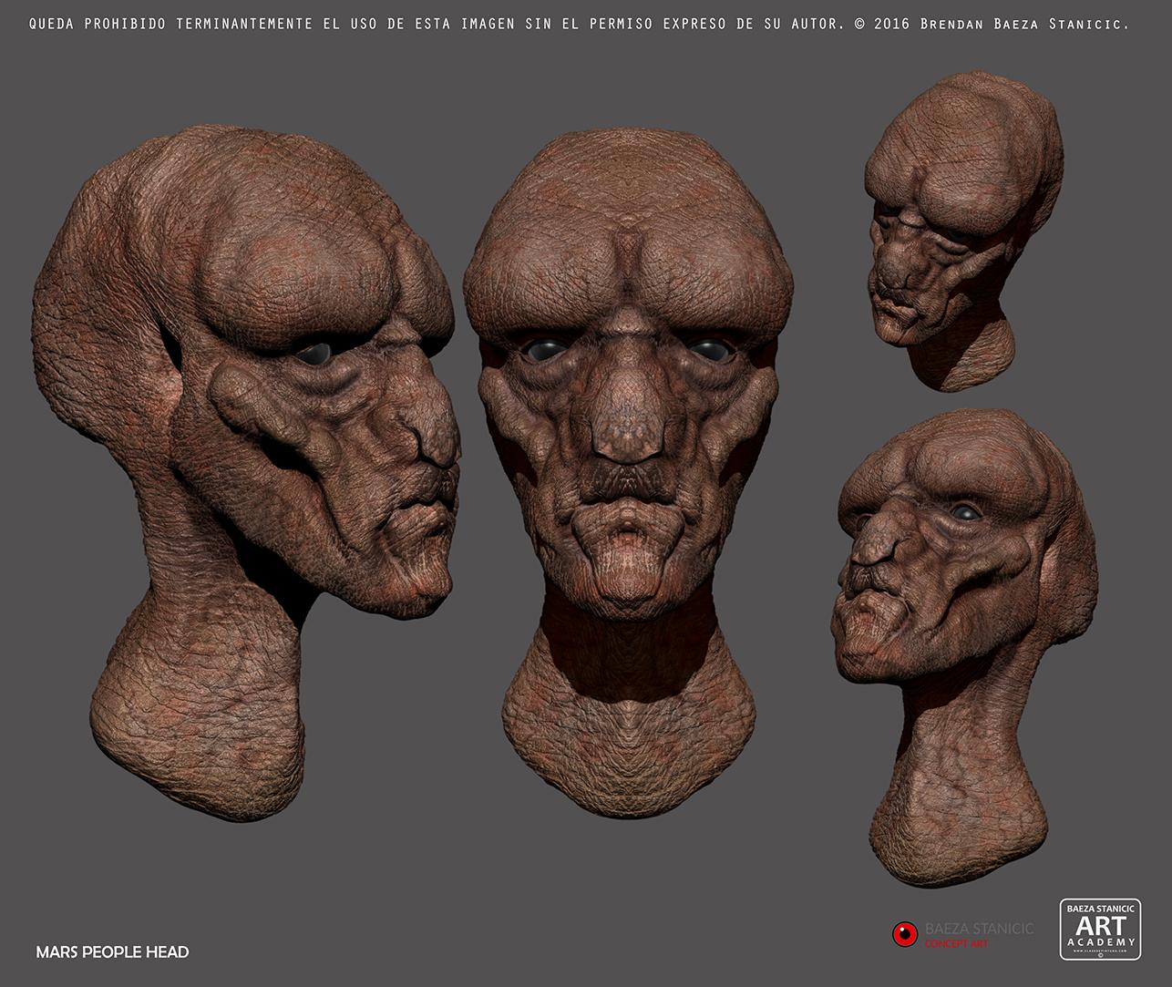 siguiendo con nuestro proyecto marciano hemos la cabeza de uno de los habitantes de nuestro planeta preferido