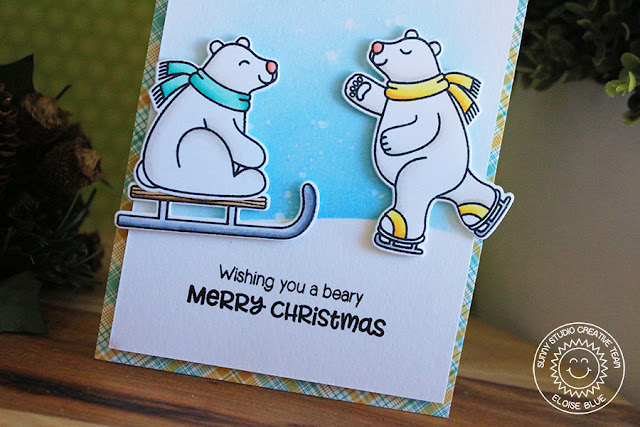 Sunny Studio Stamps: Playful Polar Bears Snowy Background Christmas Card by Eloise Blue