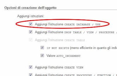 esportare database phpMyAdmin con creazione db