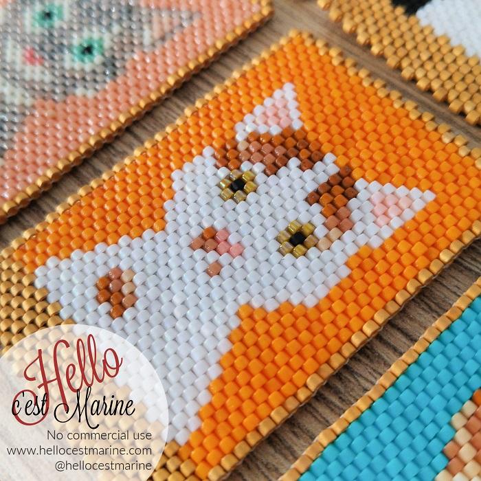 Chat blanc et roux, fond orange, diagramme pour tissage en perles Miyuki delicas 11/0, par Hello c'est Marine