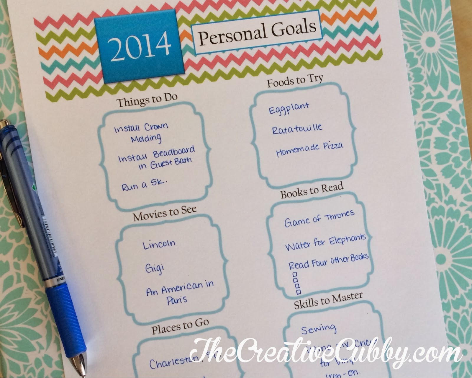 The Creative Cubby Printable New Year S Personal Goals Sheet