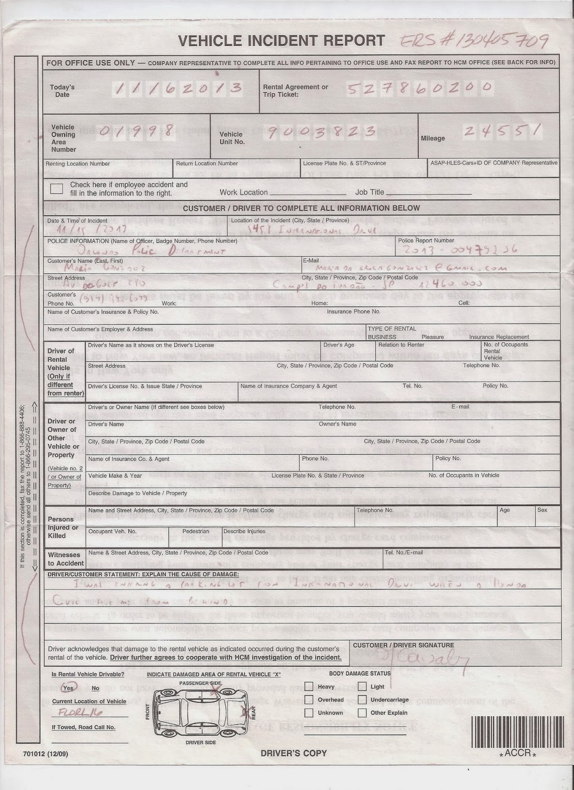 hertz vehicle incident report