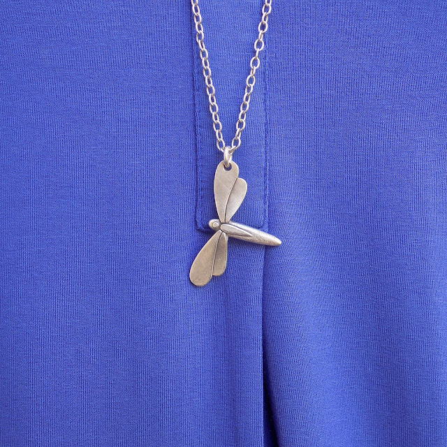 Danon jewellery silver dragonfly necklace from www.lizzyo.co.uk