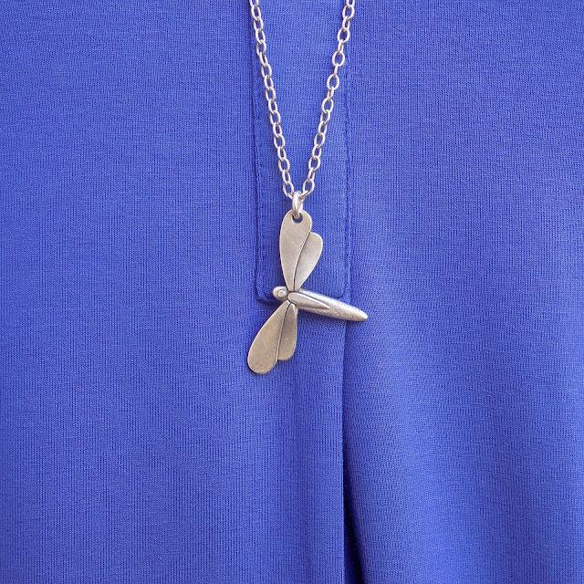 Danon jewellery silver dragonfly necklace from www.lizzyo.co.uk