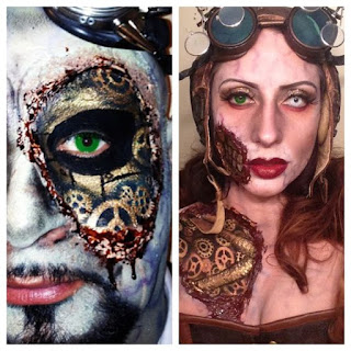 Steampunk special fx makeup, scary gory effect with skin ripped away to reveal gears below the flesh