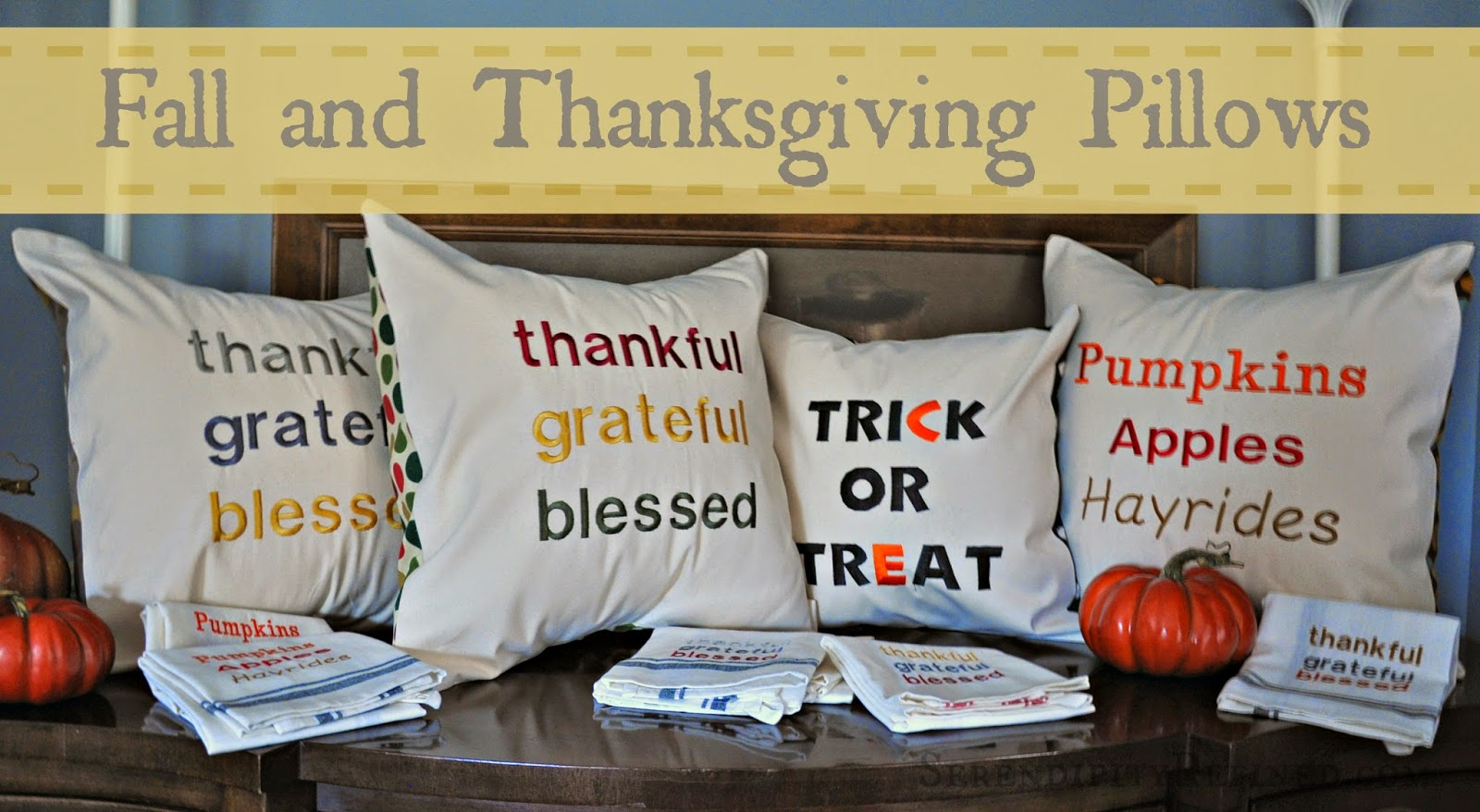 Fall Halloween Thanksgiving Canvas Drop Cloth Pillows by Serendipity Refined