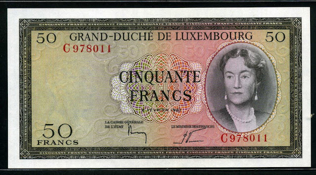 Luxembourg banknotes paper money 50 Francs banknote