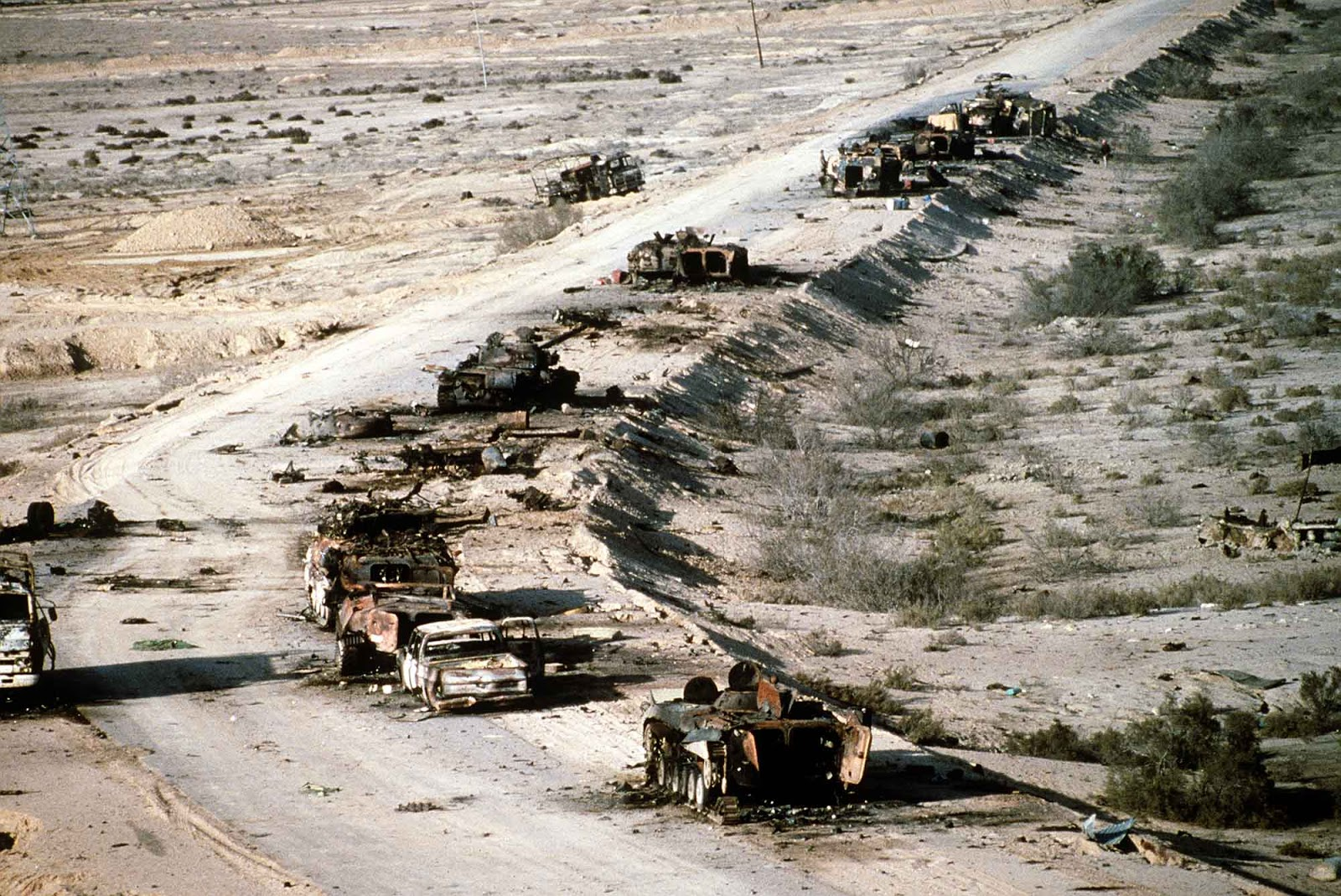 On the inland highway to Basra is mile after mile of burned, smashed, shattered vehicles of every description – tanks, armored cars, trucks, autos, fire trucks, according to the March 18, 1991, Time magazine.