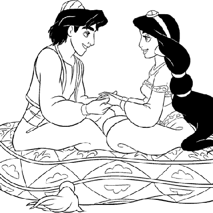 Coloriage Princesse Jasmine Et Aladdin Sur Un Coussin