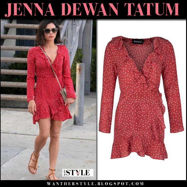 Jenna Dewan Tatum in red dot print mini dress what she wore streetstyle
