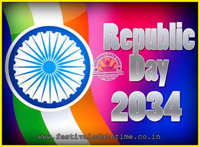 2034 Republic Day of India Date, 2034 Republic Day Calendar