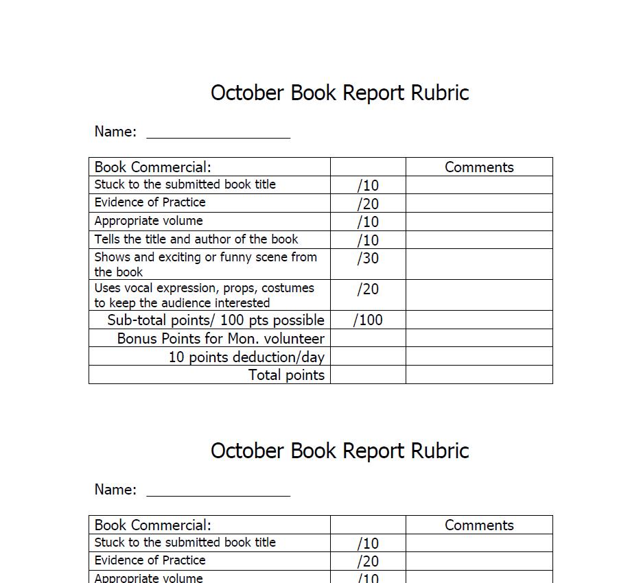 Book report rubric pdf: [PDF]Multimedia Book Report Rubric