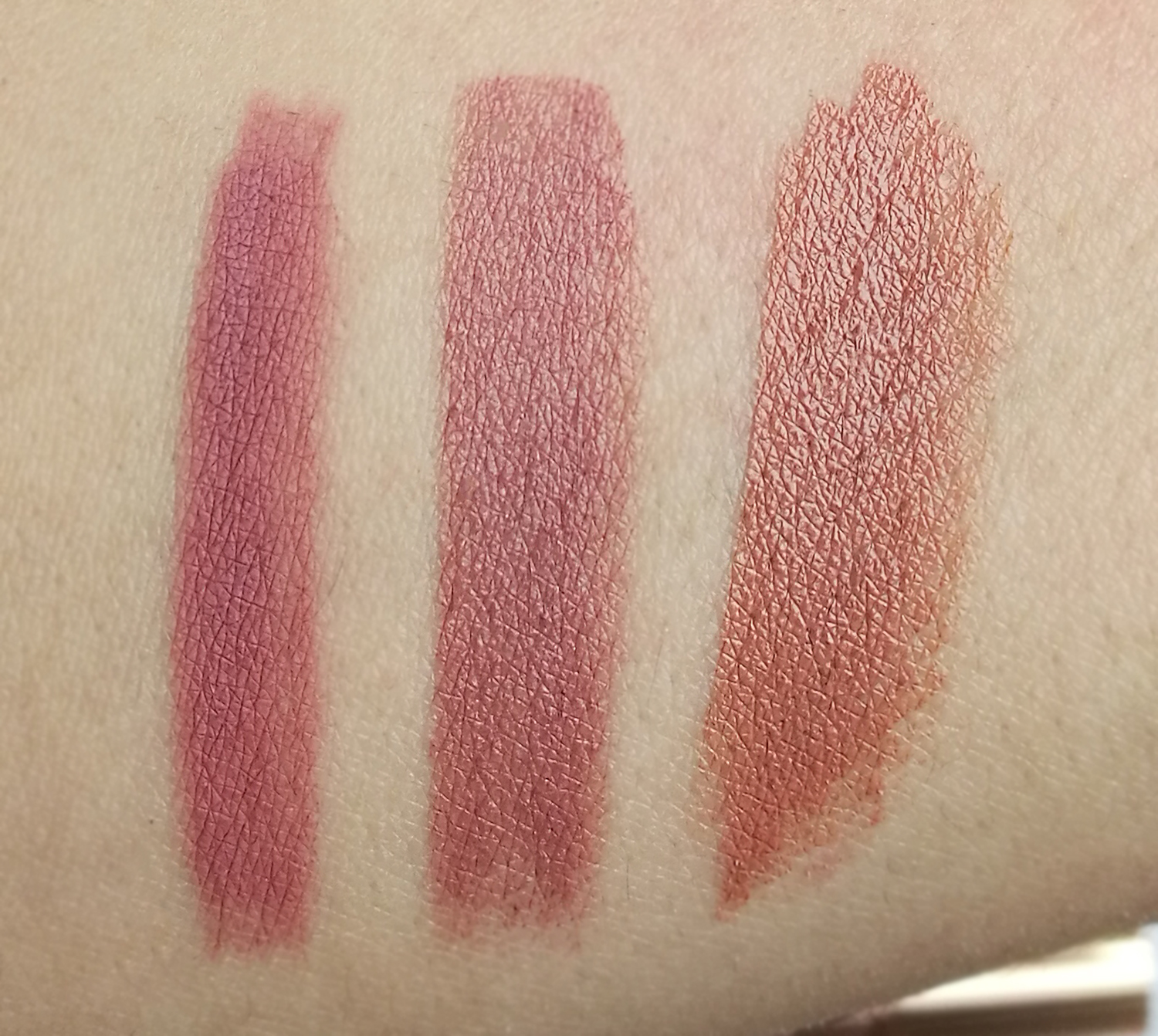 swatches to shades: pilowtalk, very victoria and hepburn honey