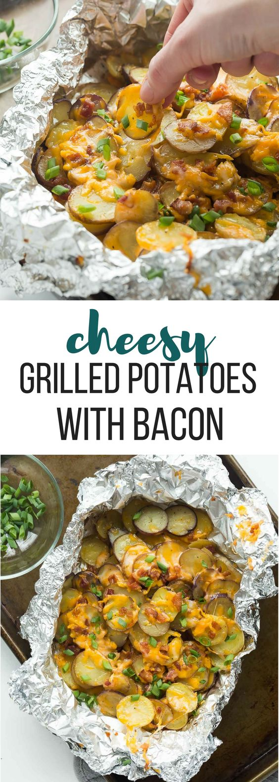 CHEESY GRILLED POTATOES WITH BACON