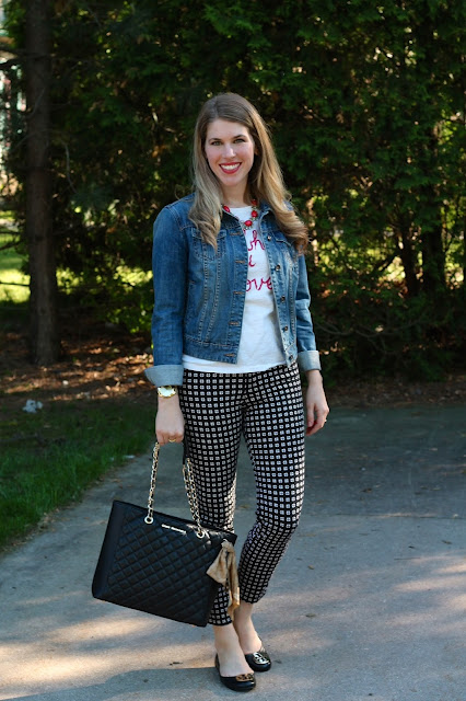 graphic tee, denim jacket, patterned pixie pants, tory burch flats, quilted bag