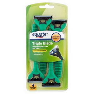 Dao cạo râu 3 lưỡi cho da nhạy cảm Equate Triple Blade hàng Mỹ xách tay