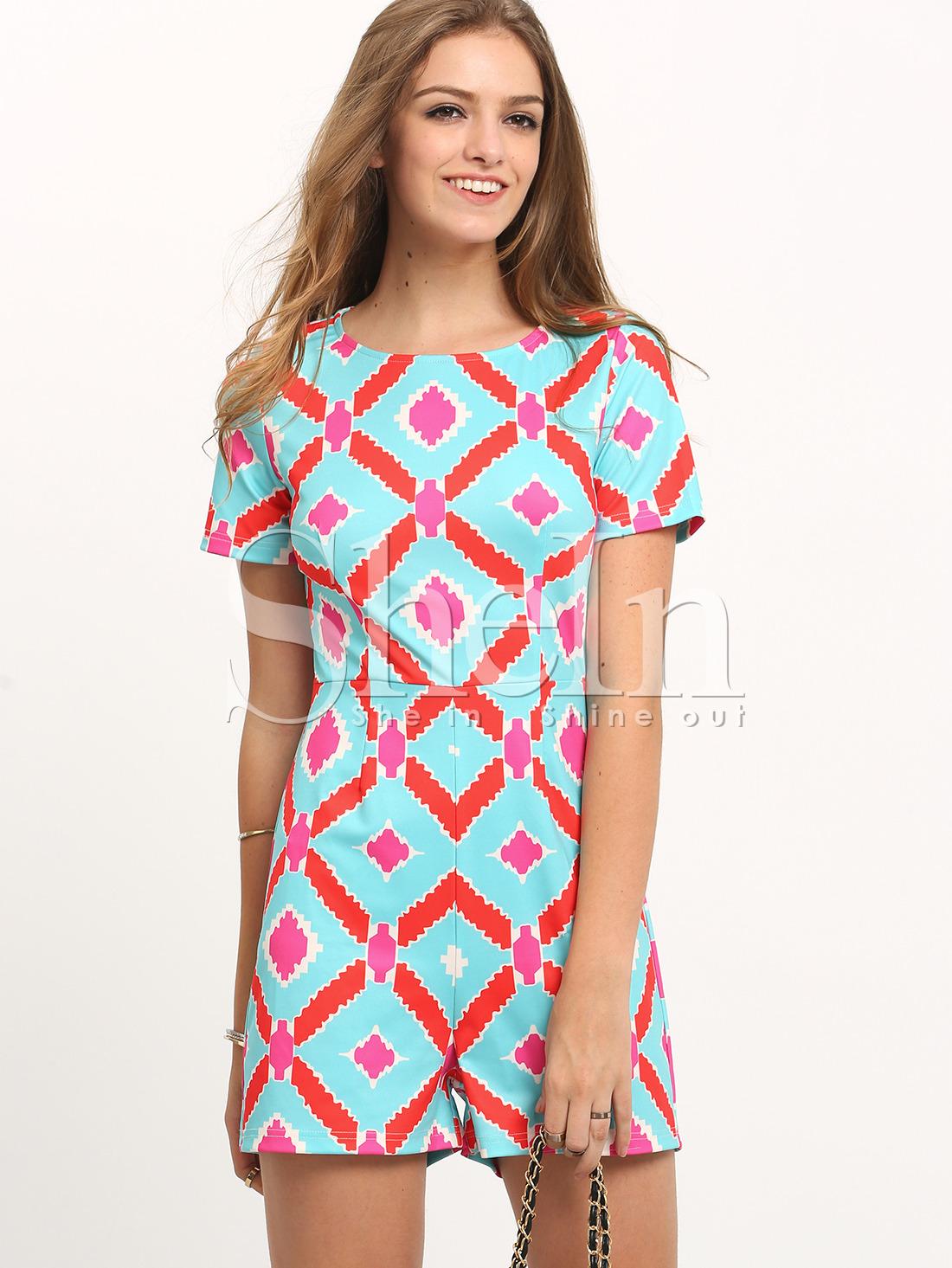 Multicolor Short Sleeve Print Jumpsuit