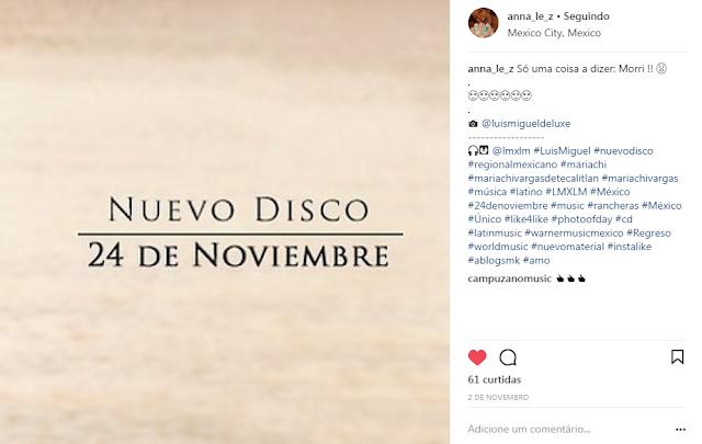 Lançamento CD Luis Miguel Novembro 2017
