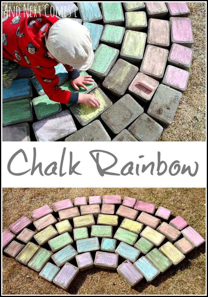 Coloring a chalk rainbow and a water play suggestion from And Next Comes L