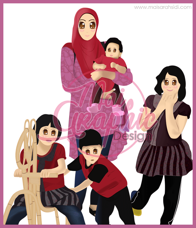 doodle, ilustrasi keluarga