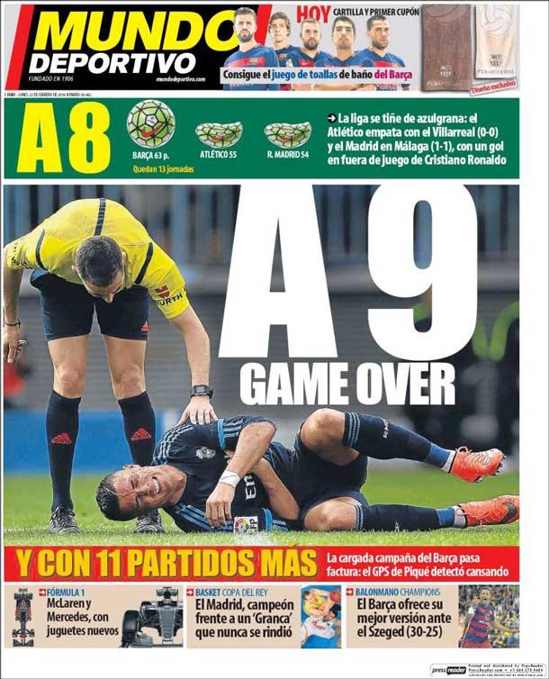 Portada del periódico Mundo Deportivo, lunes 22 de febrero de 2016