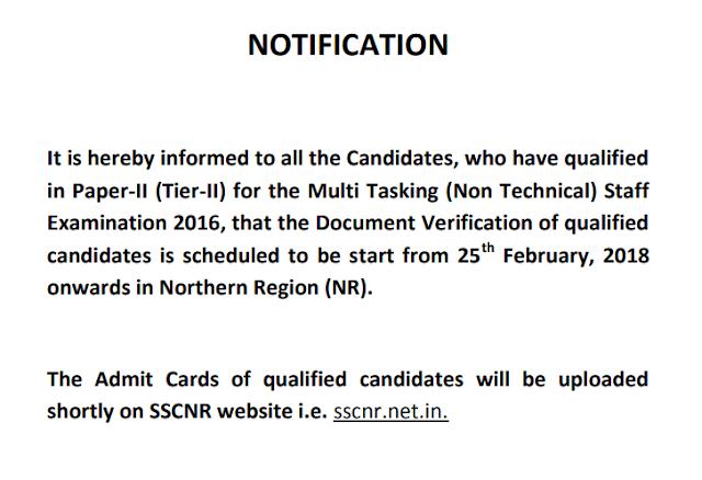 MTS 2016 Exam (NR) Notice Regarding Document Verification