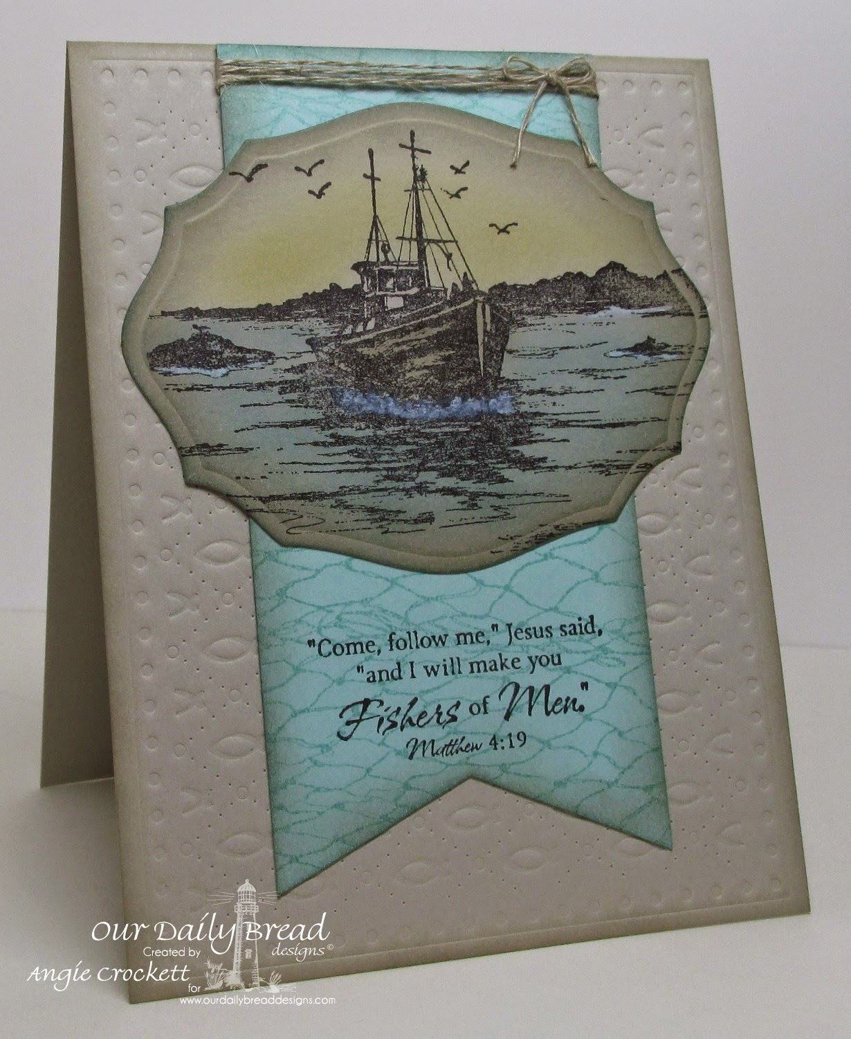 ODBD The Waves on the Sea, ODBD Fishing Net Background, ODBD Custom Elegant Ovals Dies, ODBD Custom Faithful Fish Pattern Die and Debossing Plate, Card Designer Angie Crockett
