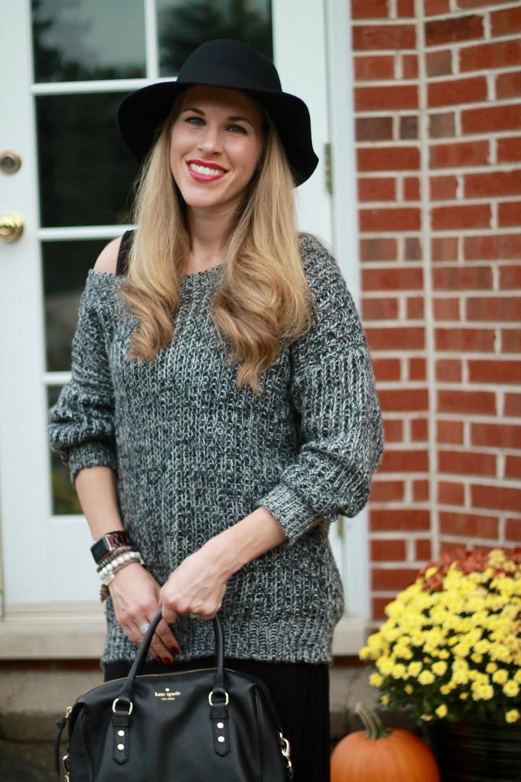 black marled sweater, black maxi dress, grey peep toe booties, black wool wide brim hat, black Kate Spade crossbody bag,