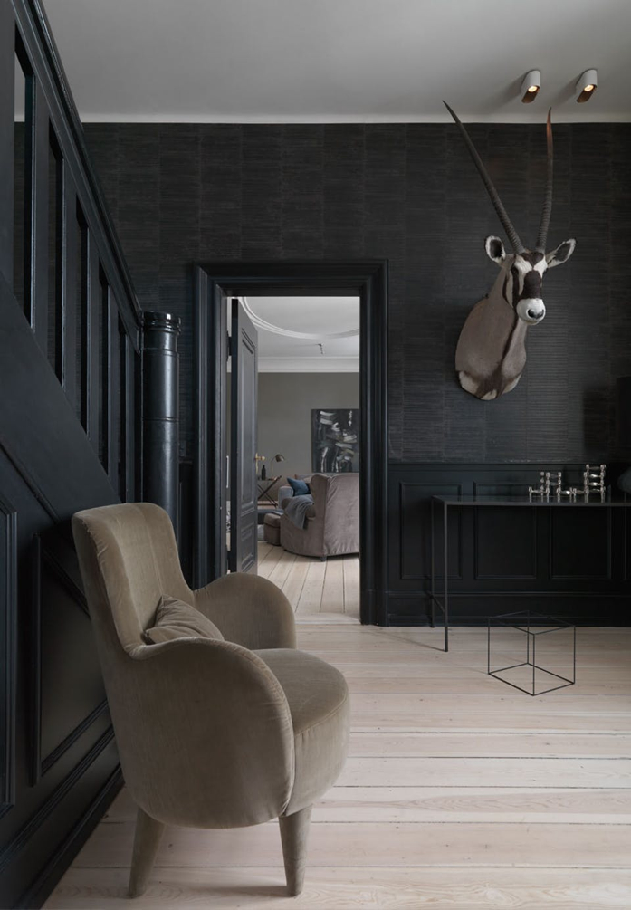 Textured wallpaper and dark paint add drama - design addict mom