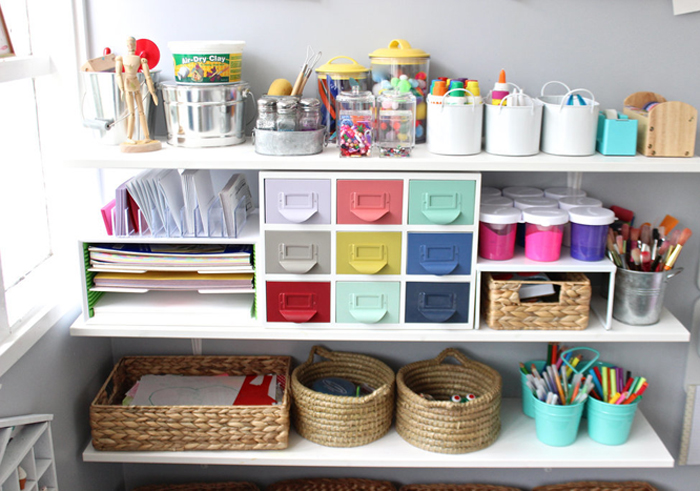 well organized Kids' craft corner