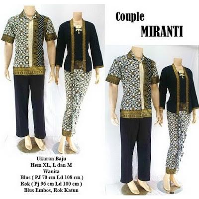 Batik Pasangan Couple Sarimbit Miranti Hitam