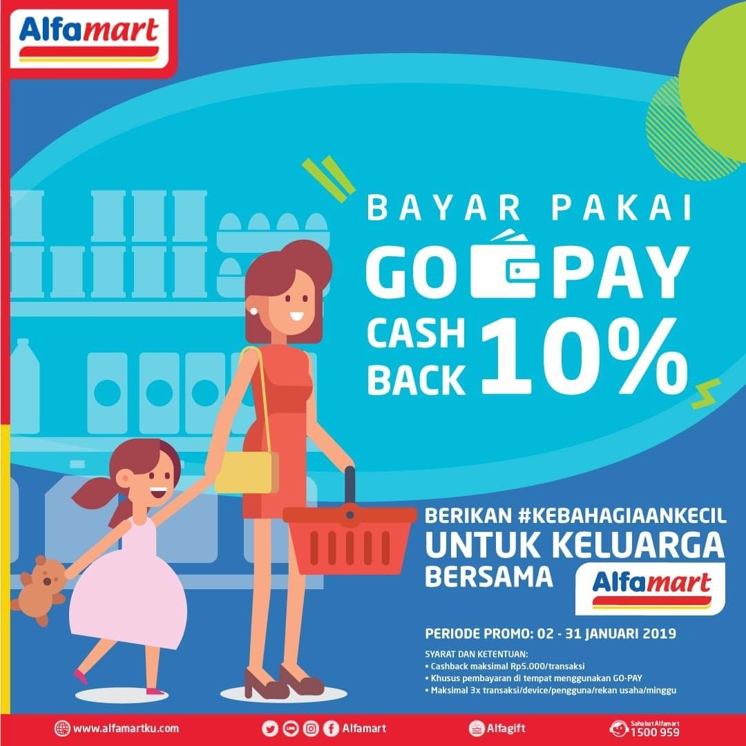 #Alfamart - Promo Cashback 10% Bayar Pakai GOPAY (s.d 31 Jan 2019)