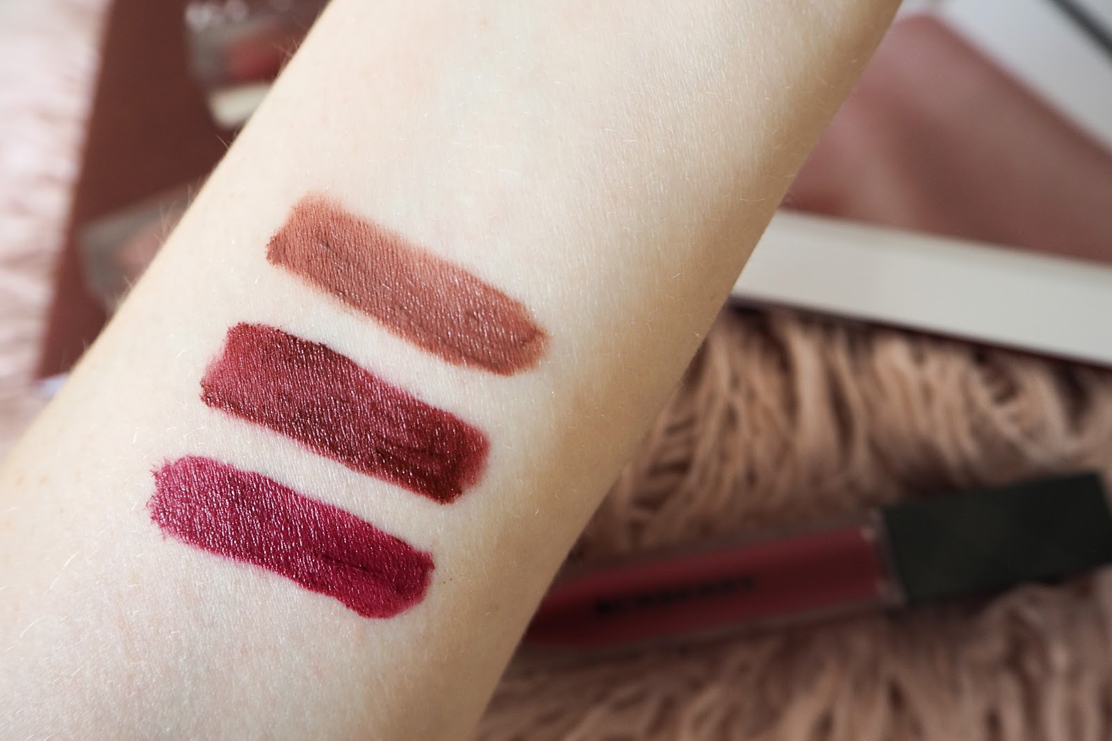 Burberry Lip Velvet Liquid Lipstick Review and Swatches - Fawn, Bright Plum and Oxblood