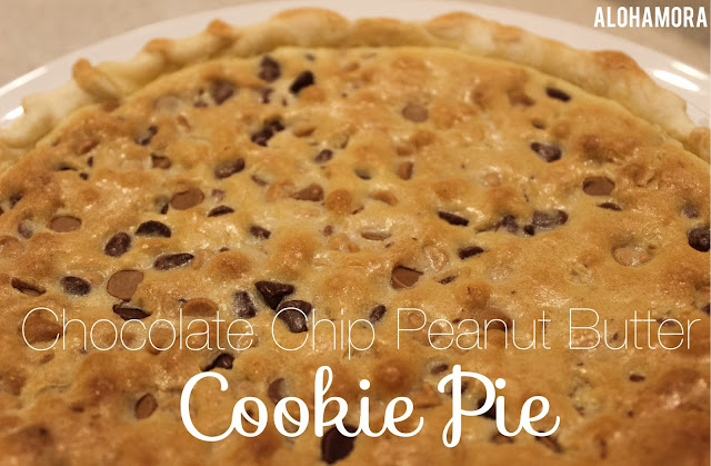 Chocolate Chip Peanut Butter Cookie Pie.  A delicious treat that combines the best of both desserts of cookie and pie. The pie is easy to make and takes no more than 20 minutes of effort plus baking time.  Alohamora Open a Book http://www.alohamoraopenabook.blogspot.com/ easy, cookies, pies, recipe, treat, Pi Day celebrating fun.  3.14 Happy Pi Day March 14