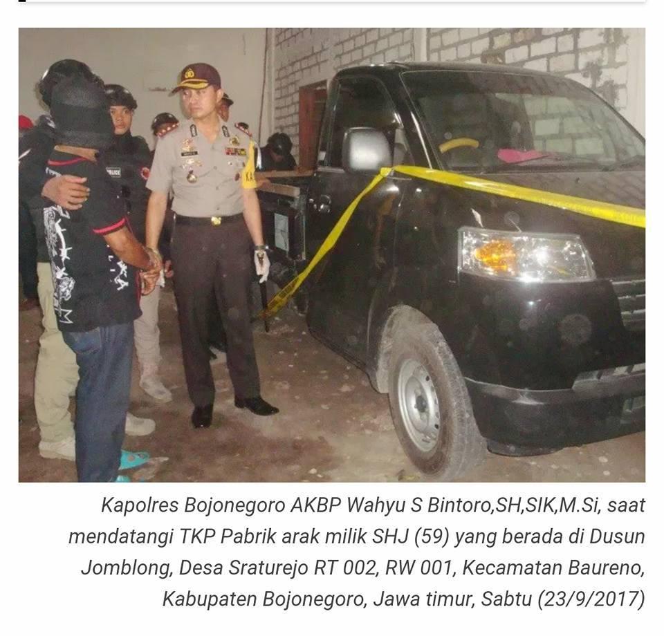 WOW! Polres Bojonegoro, Gerebek Pabrik Arak dengan Barang bukti 6,6 Ton Arak