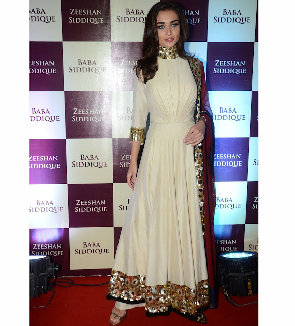 Amy Jackson Manish Malhotra Anarkali At Baba Siddique's Iftar Party